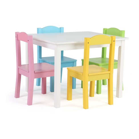4e870009736 Wood Table And 4 Pastel Chairs - White - Tot Tutors   Target