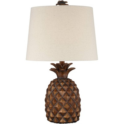 Regency Hill Tropical Accent Table Lamp Pineapple Brown Oatmeal Fabric Tapered Drum Shade Living Room Bedroom Bedside Nightstand
