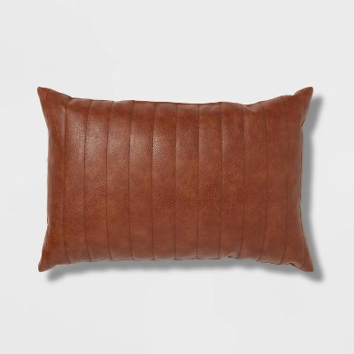 Oblong Faux Leather Channel Stitch Decorative Throw Pillow Cognac - Threshold™