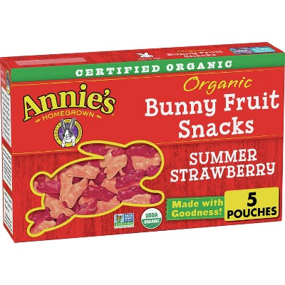 Annie's Homegrown Organic Bunny Summer Strawberry Fruit Snacks - 5ct