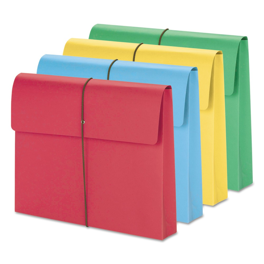 Smead 2 Accordion Expansion File Folders Wallet, Elastic Cord, Ltr, Blue/Green/Red/Yellow, 50/Box, Multi-Colored