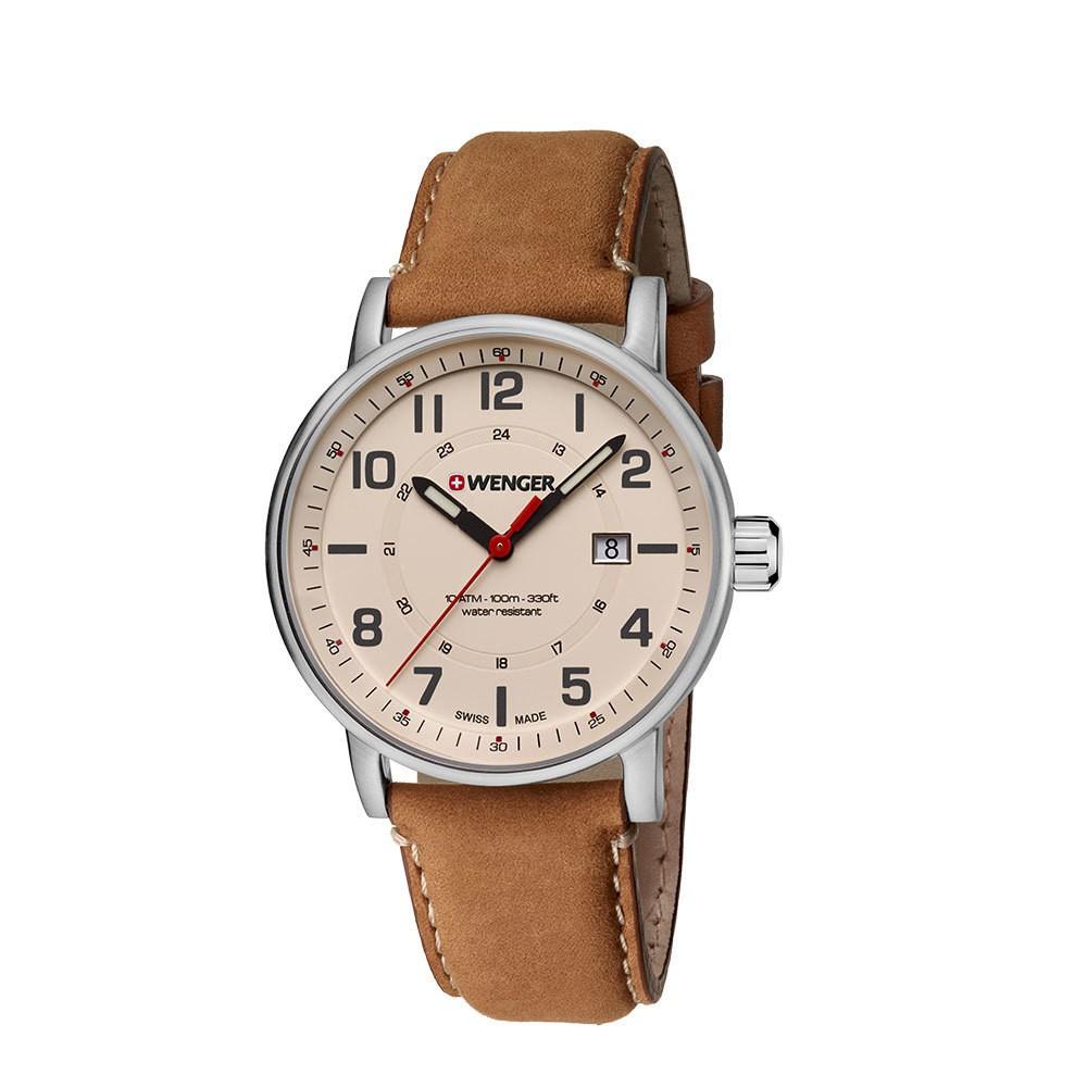 Men's Wenger Attitude Outdoor - Swiss Made - Beige Dial Leather Strap watch - Brown, Desert