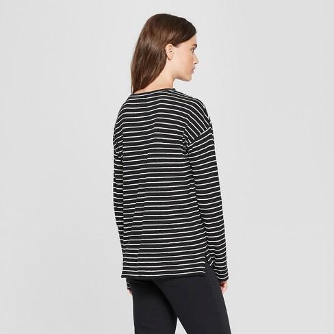 Women s Striped Drop Shoulder Long Sleeve T-Shirt - Universal Thread™ Black  White   Target 6b24d6e6b
