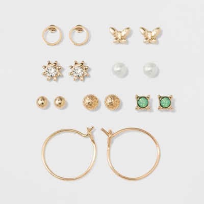 Two Spheres, Two Circles, Flower, Pearl, Green Stone & Bow Earring Set - A New Day™ Gold