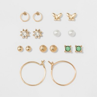 Two Balls, Two Circles, Flower, Pearl, Green Stone & Bow Earring Set - A New Day™ Gold