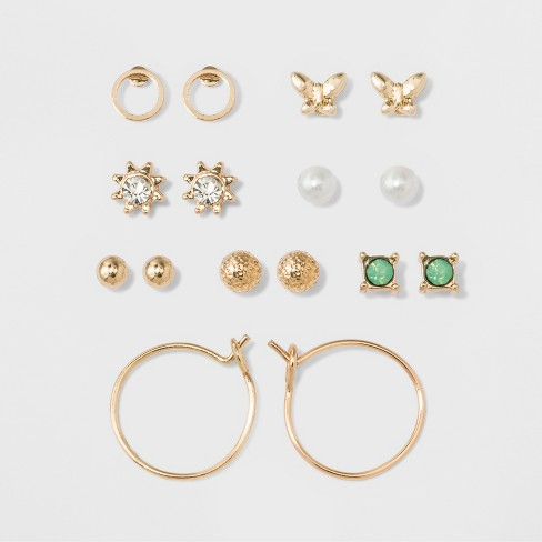 Two Circles Flower Pearl Green Stone Bow Earring Set A New Day Gold