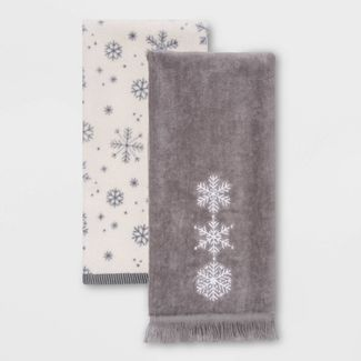Snowflake 2pk Hand Towels Gray - Wondershop™