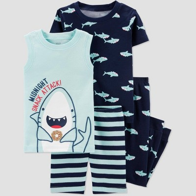 Baby Boys' 4pc Shark Pajama Set - Just One You® made by carter's Blue 12M