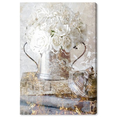 "15"" x 10"" Romantic Roses Floral and Botanical Unframed Canvas Wall Art in White - Oliver Gal"