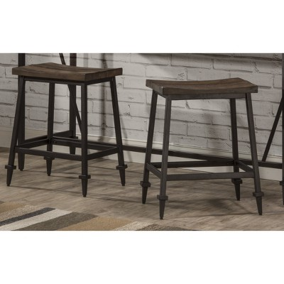 Set of 2 Trevino Backless Non Swivel Counter Height Barstool Brown/Copper Metal - Hillsdale Furniture