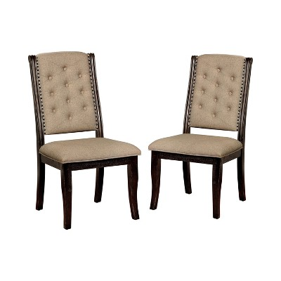 Set of 2 Preston Tufted Dining Chairs Dark Walnut - HOMES: Inside + Out