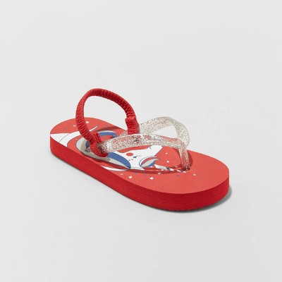 Girls' Adriana Unicorn Print Flip Flop Sandals - Cat & Jack™ Red 9-10
