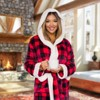 Silver Lilly Womens Buffalo Plaid Sherpa Holiday Robe with Hood - image 2 of 4