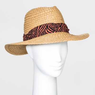 Women's Animal Band Fedora Hats - A New Day™ Natural One Size
