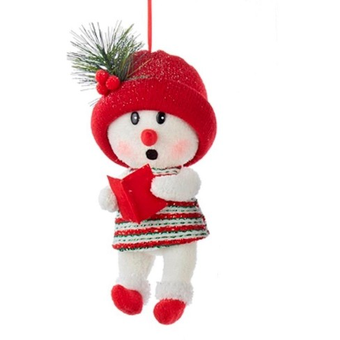 Kurt S Adler 115 Snow Woman With Hat Christmas Ornament Red