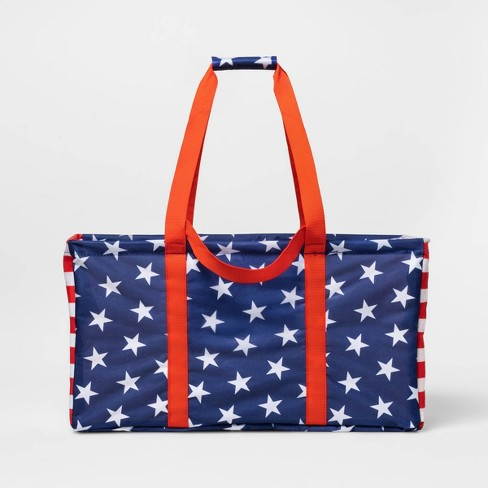 Single Layer Polyester Utility Tote Americana Red Strap - Sun Squad™ - image 1 of 3