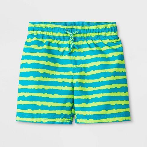 Toddler Boys' Stripe Swim Trunks - Cat & Jack™ Green - image 1 of 3