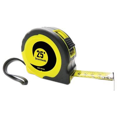 "Boardwalk® Easy Grip Tape Measure 25 ft Plastic Case Black and Yellow 1/16"" Graduations TAPEM25"