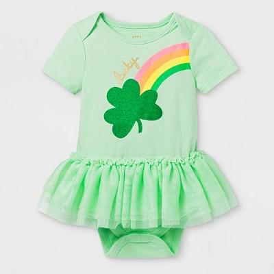 Baby Girls' St. Patty's Short Sleeve Tutu Bodysuit - Cat & Jack™ Green 0-3M