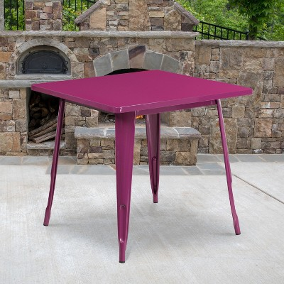 """Flash Furniture Commercial Grade 31.5"""" Square Metal Indoor-Outdoor Table"""