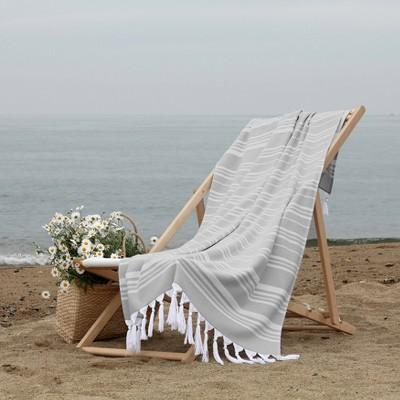 Ephesus Pestemal Beach Towel Stripes Stone Gray - Linum Home Textiles