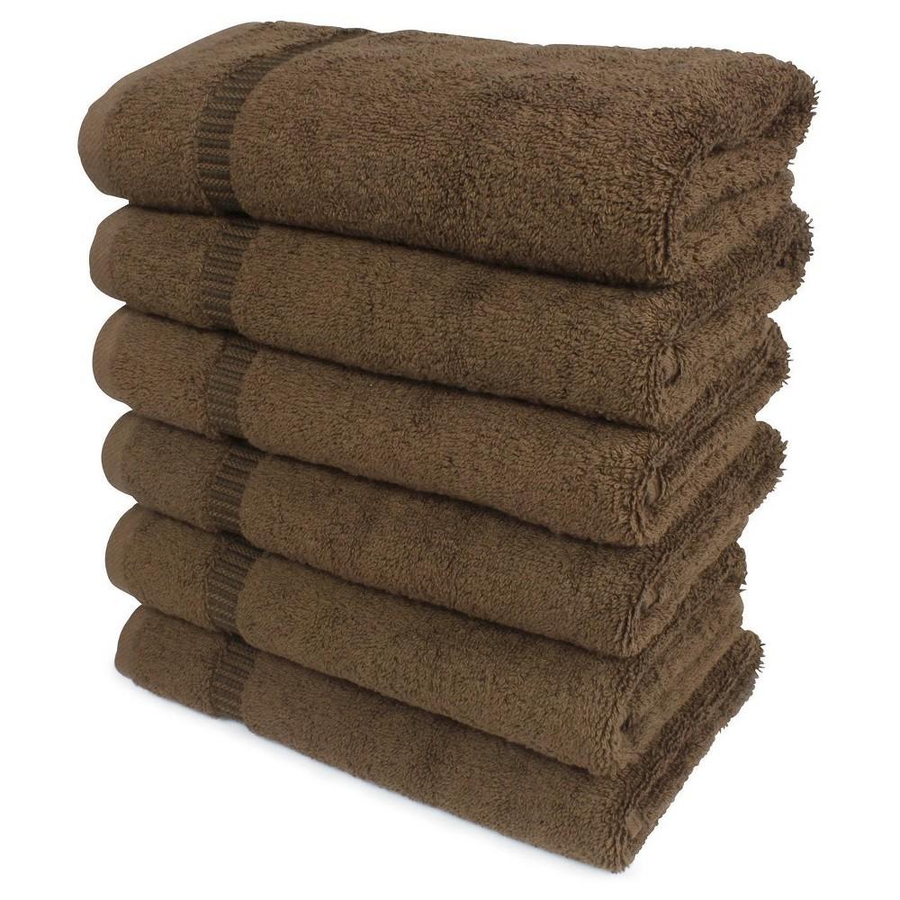 Image of 6pc Villa Hand Towel Set Brown - Royal Turkish Towel