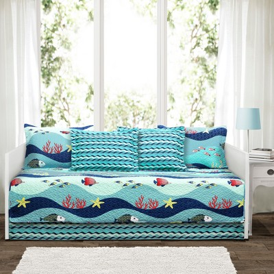 Blue Sealife Daybed Cover Set - 6pc - Lush Decor