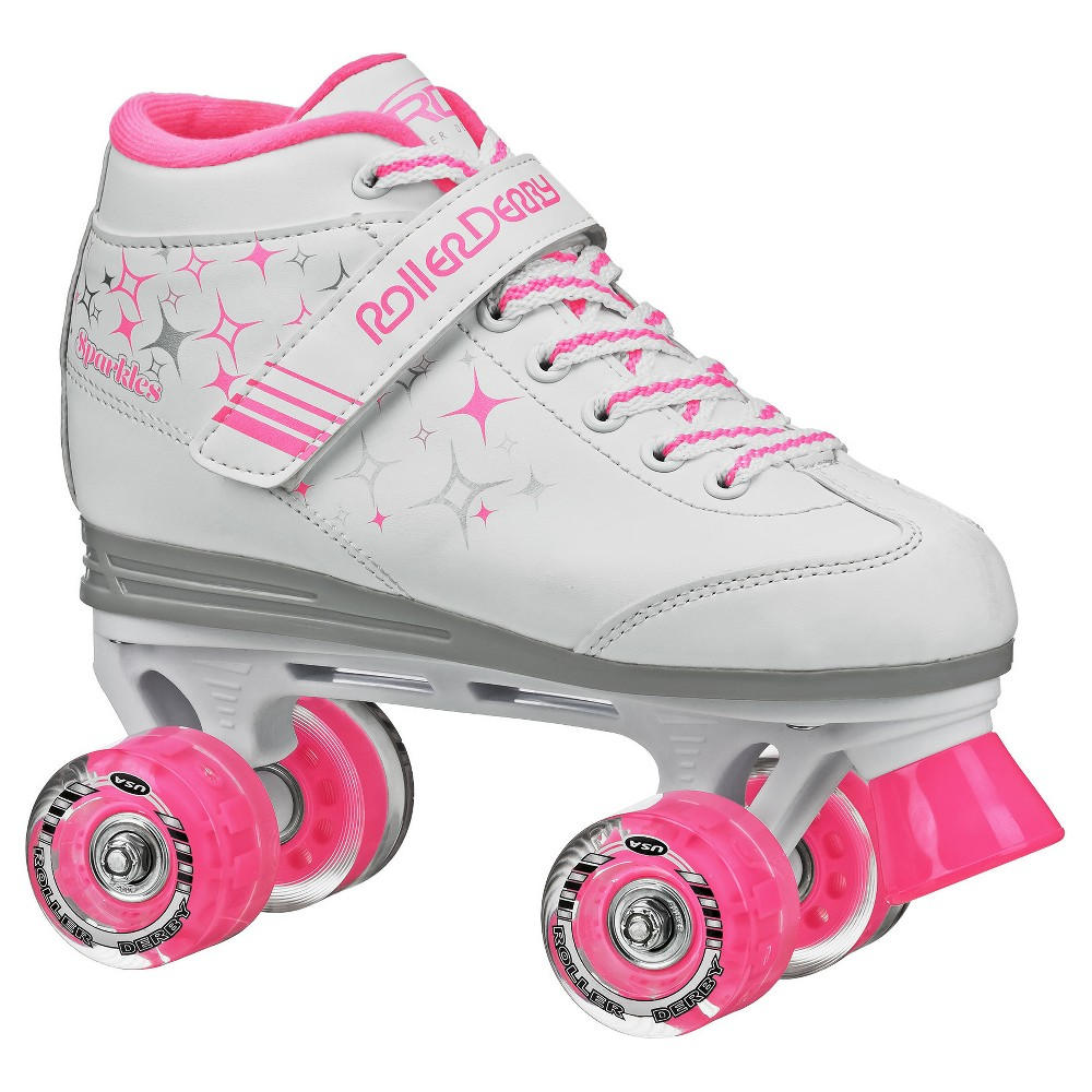 Roller Derby Kids' Sparkle Quad Skates with Lighted Wheels - White/Pink -(4), Girl's, Pink White