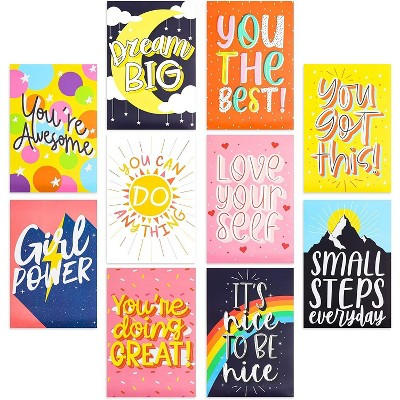 10-Pack Motivational Poster with Bright Colors Positive Words, Idea for Students Teenagers (13 x 19 inches)