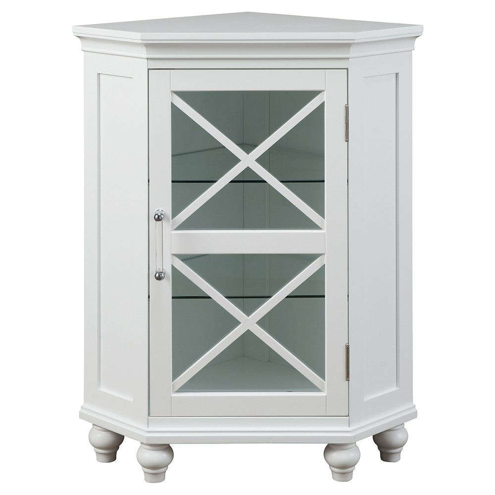 Floor Cabinet with 2 Shelves White - Elegant Home Fashions