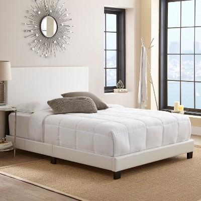 Faux Leather Langley Upholstered Platform Bed Frame Full White-Eco Dream