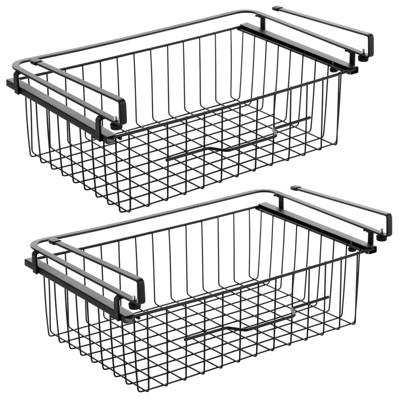 mDesign Metal Under Kitchen Pantry Shelf Hanging Bin Basket - 2 Pack