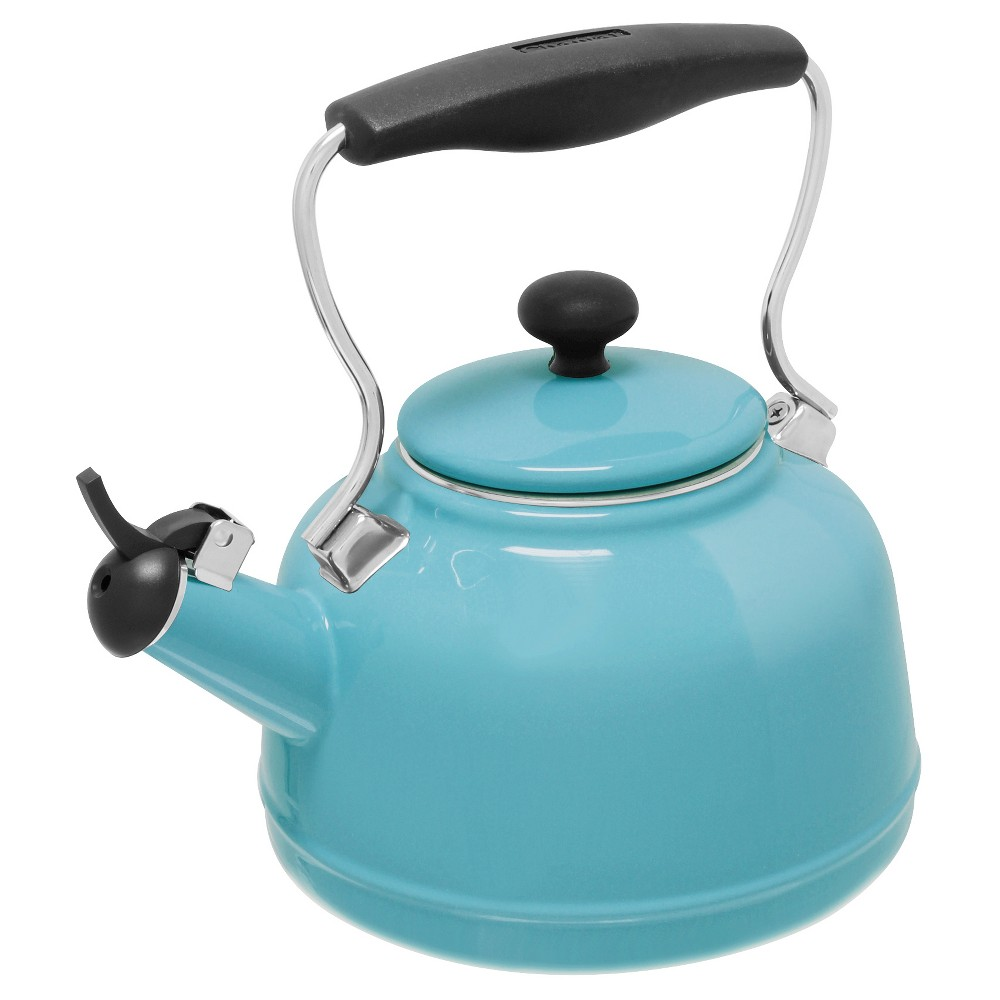 Enjoy a hot cup of tea on a chilly day or anytime of the year with this Chantal Vintage Tea Kettle. Featuring a durable enamel-on-steel exterior, this vintage-inspired tea kettle is designed with a matching enamel lid which adds a touch of charm to teatime. A stay-cool stainless steel handle with a phenolic grip and knob offers a comfortable grip when pouring hot water into teacups which makes for safe use. The broad base and solid construction provide fast boiling performance on all electric stovetops, including induction. Keep you water warm in this attractive tea kettle while enhancing the look of your kitchen space. Color: Aqua. Gender: unisex.