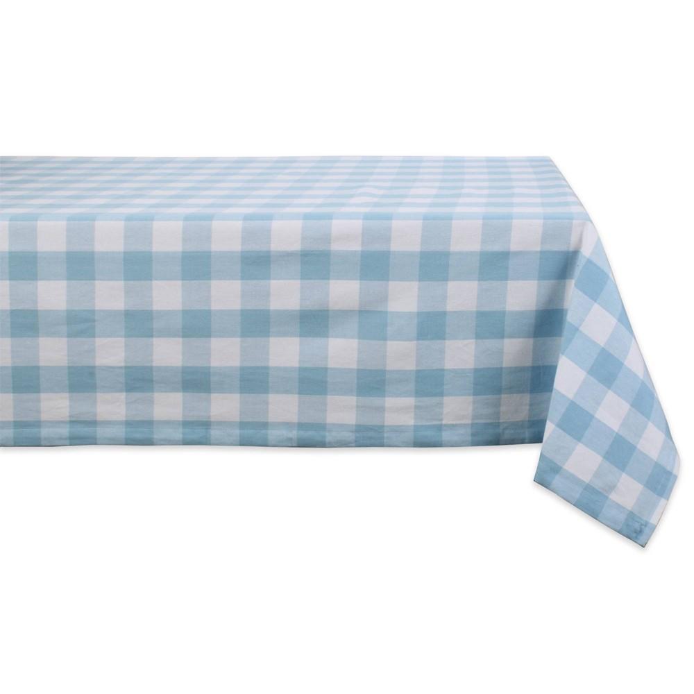 "Image of ""104"""" x 60"""" Cotton Buffalo Check Tablecloth Blue - Design Imports"""