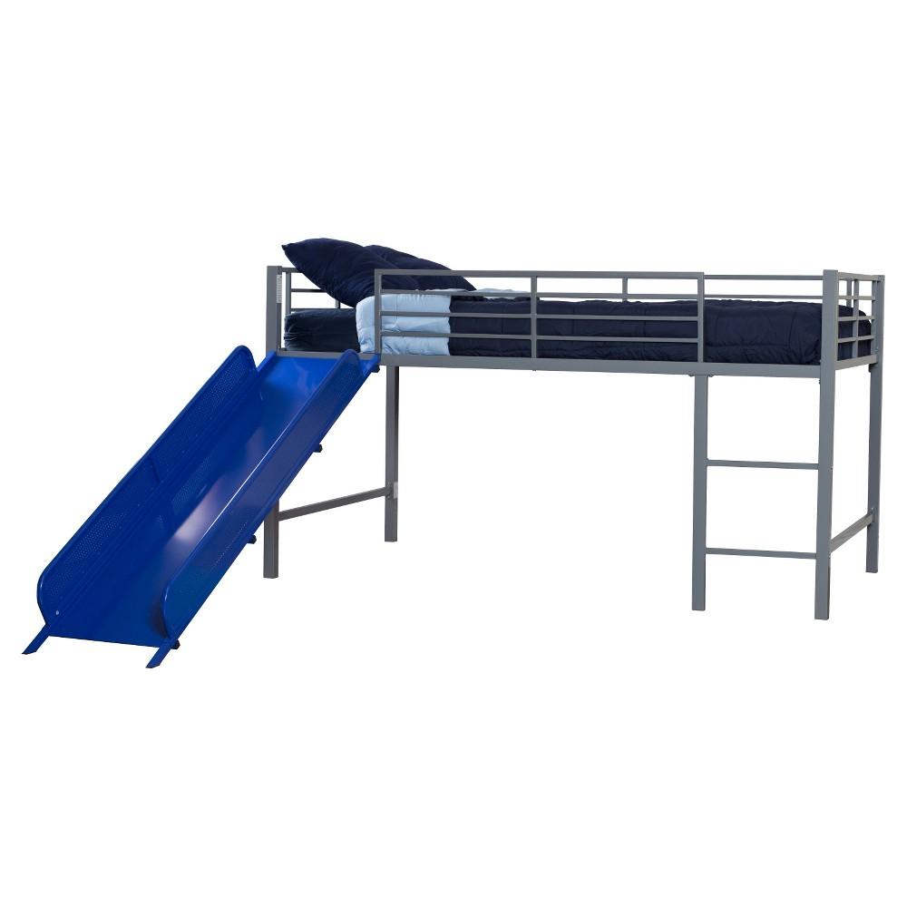 Best Price Melia Junior Metal Loft Bed With Slide SilverBlue Room Joy