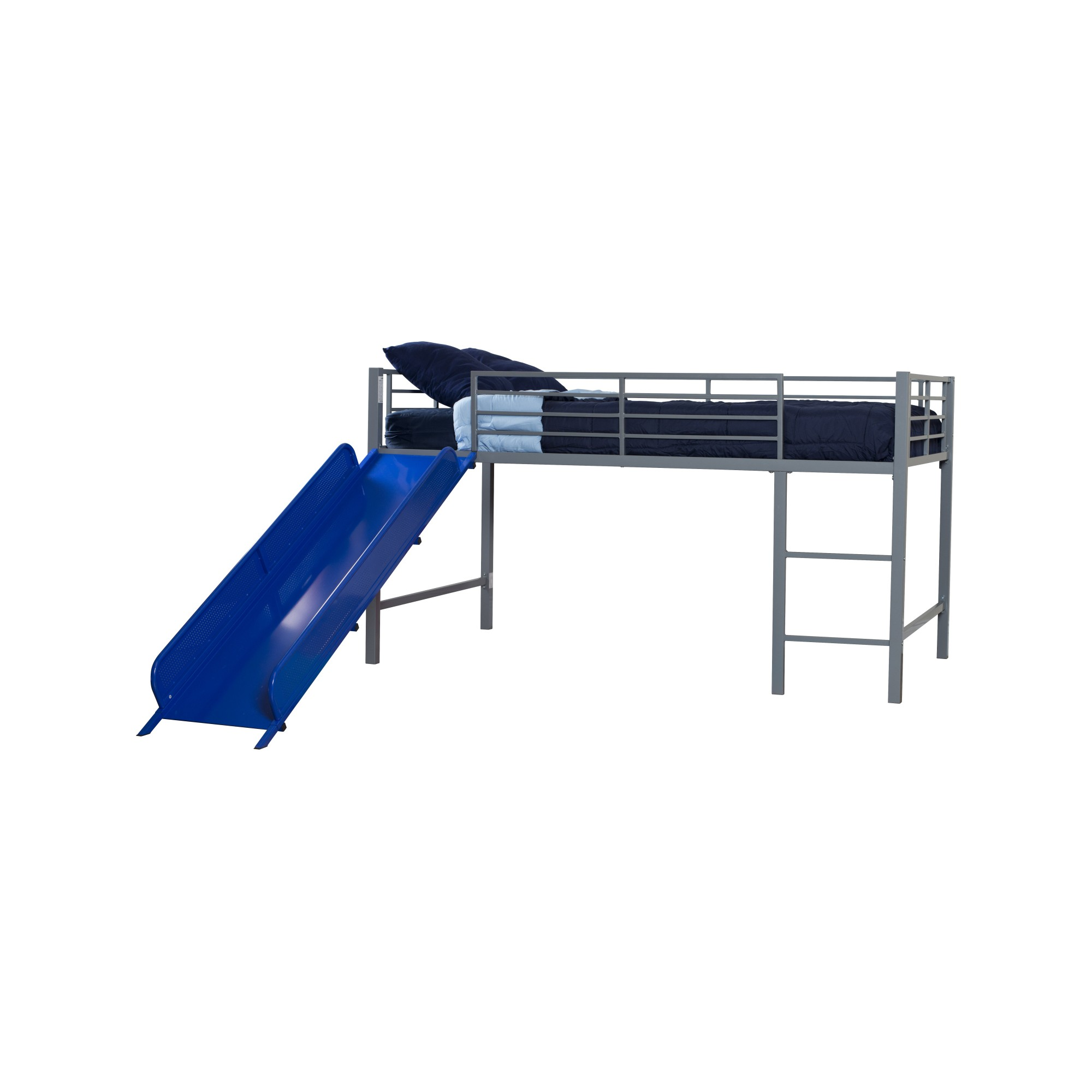 Melia Junior Metal Loft Bed with Slide Silver/Blue - Room & Joy