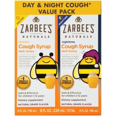 Zarbee's Naturals Children's Daytime & Nighttime Cough Syrup - Natural Grape - 4 fl oz/2pk