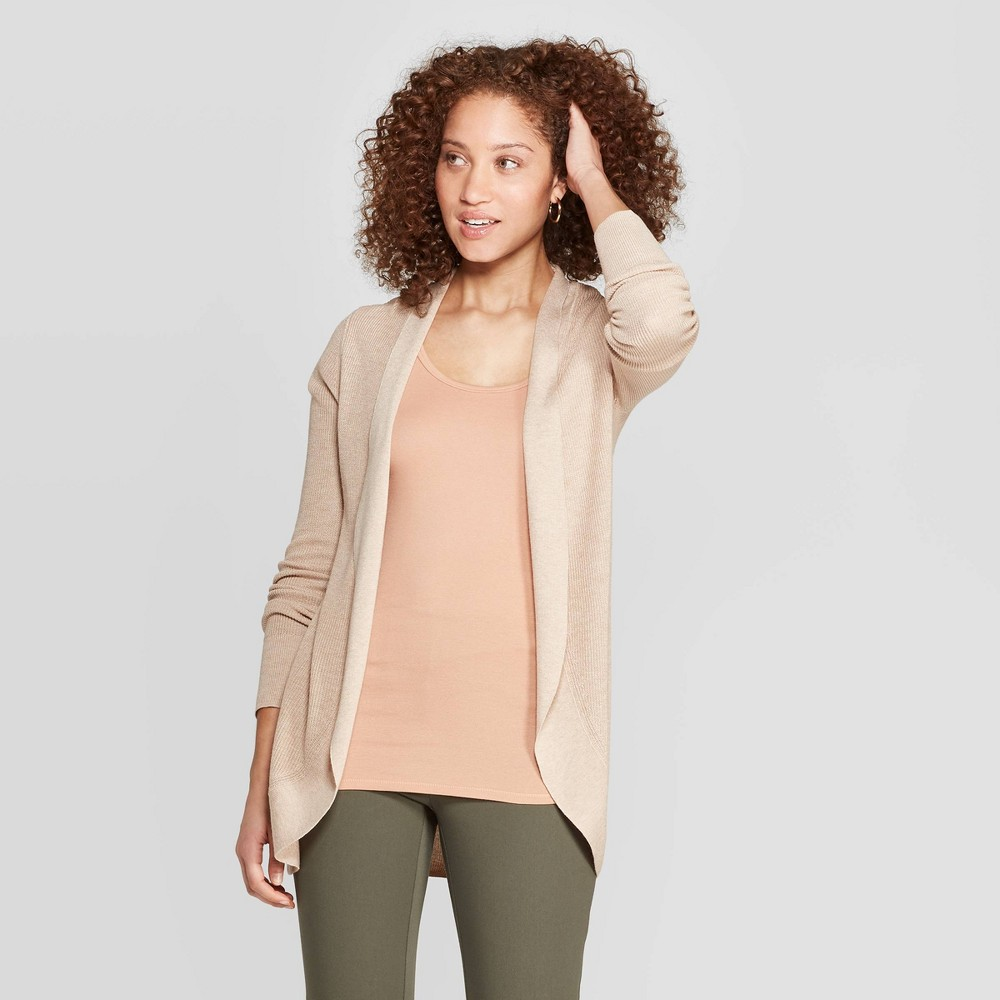 Women's Long Sleeve Open Cocoon Cardigan - A New Day Oatmeal M, Brown