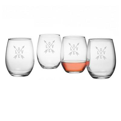 Susquehanna 21oz Glass Love Stemless Wine Glasses - Set of 4
