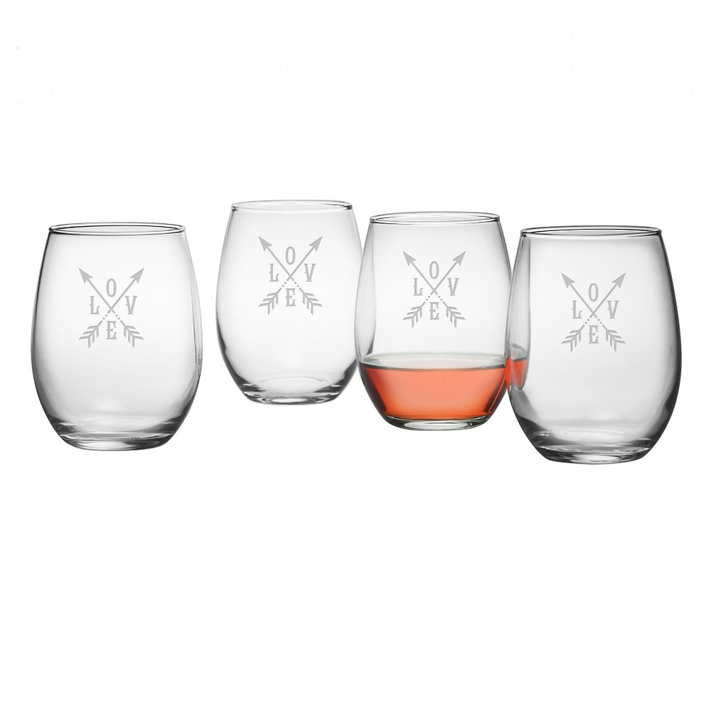 Image of Susquehanna 21oz Glass Love Stemless Wine Glasses - Set of 4