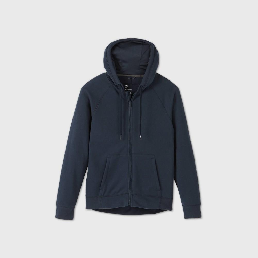Men 39 S Fleece Full Zip Hoodie Sweatshirt All In Motion 8482 Navy S