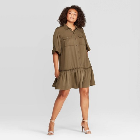 Women\'s Plus Size Short Sleeve Collared Mini A Line Dress - Who What Wear™  Green