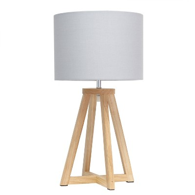 Natural Wood Interlocked Triangular Table Lamp with Fabric Shade Brown - Simple Designs