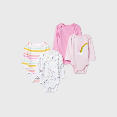 Baby Girls' 4pk Unicorn Adventure Long Sleeve Bodysuit - Cloud Island™ Pink 0-3M