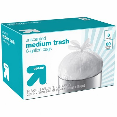 Medium Unscented Flap-Tie Trash Bags - 8 Gallon - 60ct - up & up™