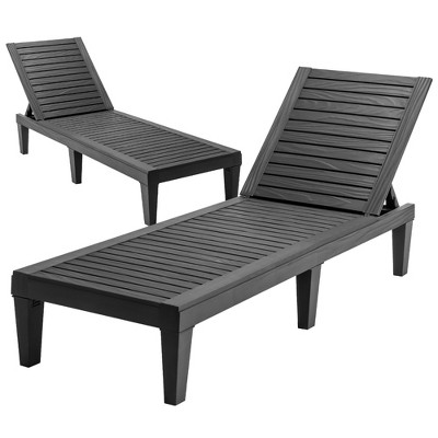 Costway 2 PCS Patio Lounge Chair Chaise Recliner Weather Resistant Adjust Brown\Black
