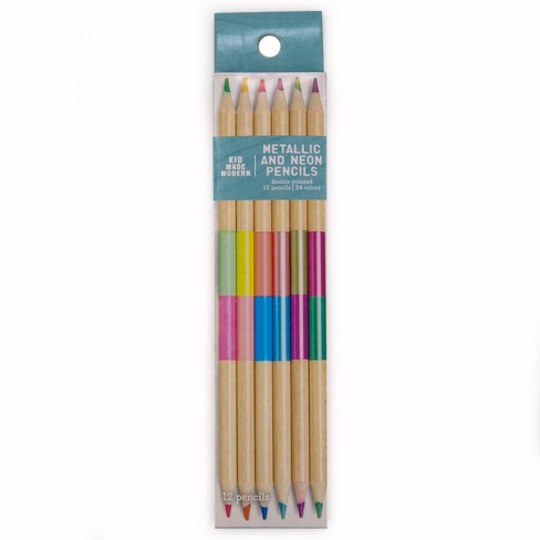 Kid Made Modern® Colored Pencils Double-Pointed 12ct - Metallic & Neon - image 1 of 3