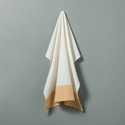 Colorblock Flour Sack Kitchen Towel Yellow - Hearth & Hand™ with Magnolia