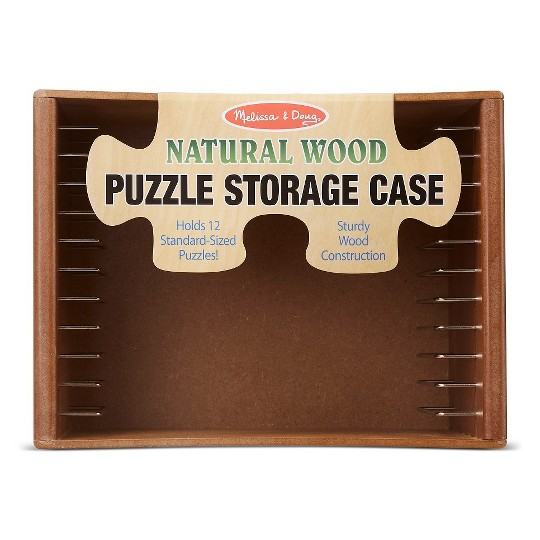 Melissa & Doug Natural Wood Puzzle Storage Case (Holds 12 Puzzles) image number null