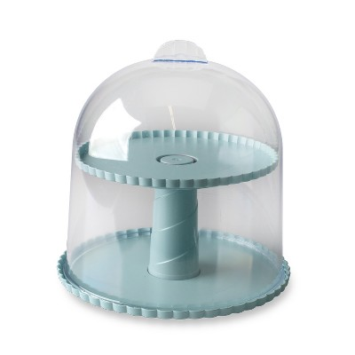 Nordic Ware Dessert Stand with Dome Lid, Sea Glass